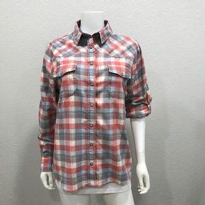 Jachs Girlfriend BEA plaid flannel shirt red blue